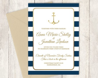 Nautical Wedding Invitation / Nautical Stripes / Navy Stripes, Gold Anchor / Navy and Gold ▷ Printable File {or} Printed & Shipped