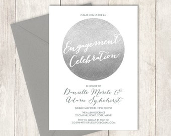 Silver Sparkle Engagement Party Invitation DIY / Glitter Circle Metallic Silver and Gray / Steel Gray ▷ Printable PDF Invite