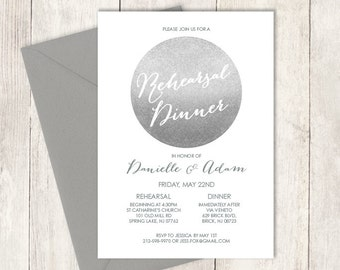 Silver Sparkle Rehearsal Dinner Invitation / Glitter Circle Metallic Silver and Gray / Steel Gray ▷ Printable PDF Invite