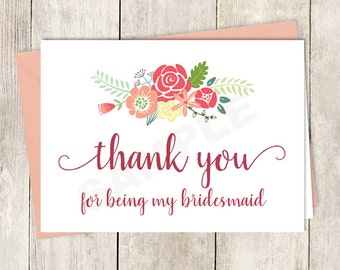 Thank You Card DIY Printable / For Being My Bridesmaid /Rustic Flower Charm / Bright Pink, Red, Yellow Wildflowers ▷ Instant Download