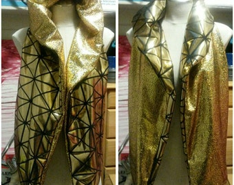 """Reversible Hooded Vest - """"Midas Touch"""" - Size SMALL"""