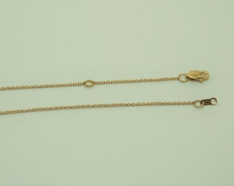 """14K Solid Gold Chain, 16"""" Delicate Cable chain with Lobster Clasp, Adjustable to 14 1/2 """""""