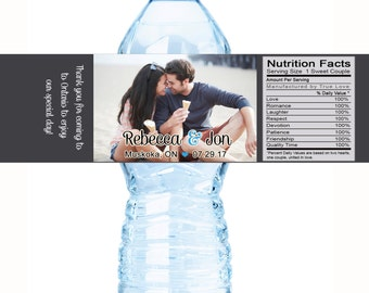 Wedding Water Bottle Labels, Personalized Water Bottle Labels, Waterproof Label, Bridal Shower Labels, Welcome Bags, Photo Wedding Labels