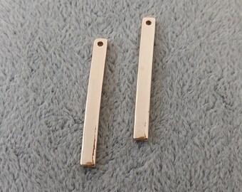6PCS Silver/Rose Gold Stick Charm Pendant --- DIY Jewelry Supply --- 3mm*30mm, CM63-1660