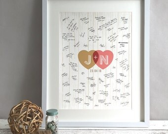 Rustic Wedding Guest Book Alternative, Unique Vintage Wedding Guestbooks, Rustic Wedding Decor, Hearts Personalised Print Poster (unframed)
