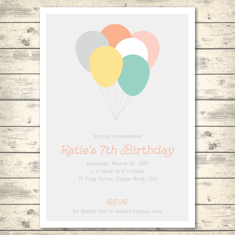 Simple Birthday Party Invitation Minimalist Simple Balloons
