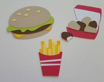 Hamburger, Fries, Chicken Nuggets Die Cut Set