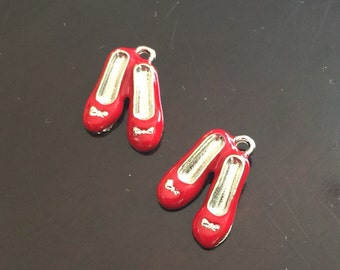 2PC 3D Red Shoes Charm-Wizard of Oz Charms-Red Slippers Charm-Silver Tone/Red Enamel