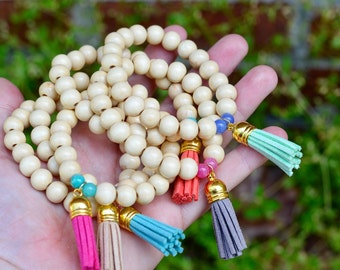 White Wooden Bead Tassel Bracelets-Multiple Colors-Beach Style-Tassel Bracelets