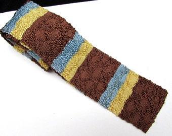 40s mens knit square end rayon vintage mens tie | jacquard crochet necktie | brown + yellow + blue stripe pattern | 1940s swing menswear