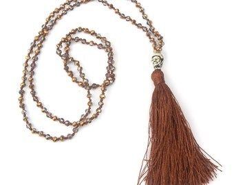 Buddha Charm Tassel Brown Beaded Hand Knotted Necklace 28 Inches