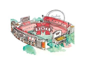 Mississippi State Davis Wade Stadium print