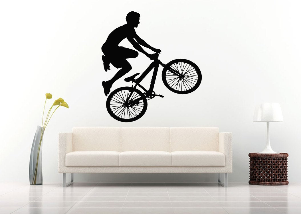Wall sticker decals room design decor bike bmx bicycle sport for Bmx bedroom ideas