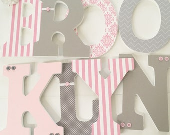 Pink and Grey Girl Nursery Letters, Wall Hanging Name Letters, Nursery Decor