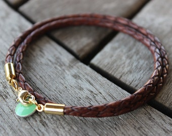 Double Wrap Braided Leather Bracelet | Braided Leather | Leather Bracelet | Charm Bracelet | Bohemian | Vintage Style | Mother's Day Gift