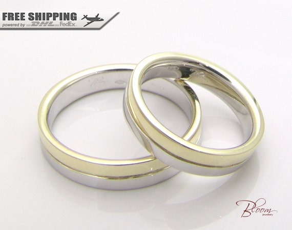 Two Tone Wedding Band 14K Solid Gold Wedding Rings Gold