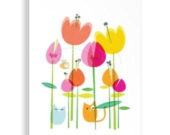 A4 Happy Cat Garden Print
