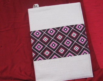 book cover with blocknote. fabric book cover.