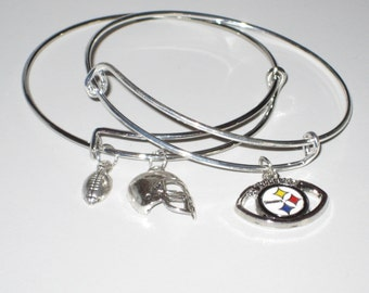 Pittsburgh Steelers Bracelets (Set of 2), Silver Plated,Official NFL Football Charm, Silver Helmet, I Love Football & Football Charms