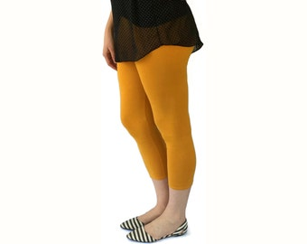 Womens Leggings - Capri Length Legging - Solid Color Leggings - Cotton Leggings - Capri Yoga Leggings - Ladies Leggings - Yoga Clothes Women