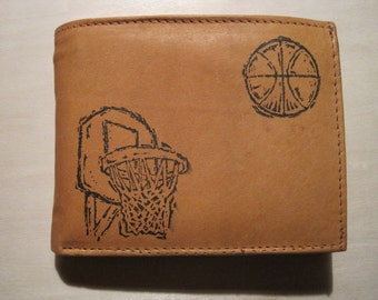 "Mankind Wallets Men's Leather RFID Blocking Billfold w/ ""Basketball & Hoop"" Image~Makes a Great Gift!"