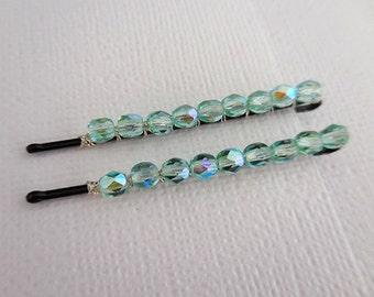 Beaded Bobby Pin, Light Teal AB Hair Pin, Sparkly Hair Clip, Bridal Hair Pin, Wedding Accessory, Bridesmaid Gift, Aqua Bobby Pin, Fancy Pin