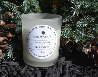 PINE FOREST-Pure Soy Candle Frosted Handmade