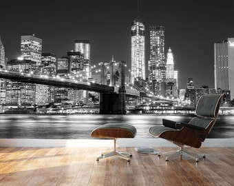 Manhattan wallpaper etsy for Brooklyn bridge black and white wall mural