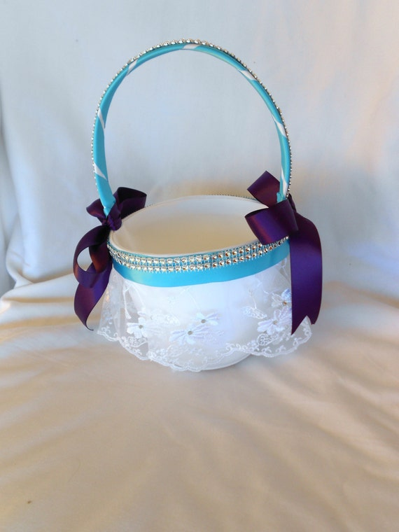 Flower girl basket ant ring bearer pillow royal purple and turquoise  with 2 pc