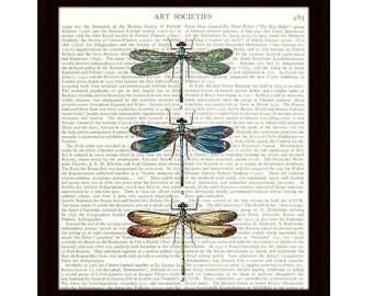 Dragonflies Art Print, Upcycled Dictionary Page, Colorful Dragonfly Art Collage Illustration, Ready to Frame - Item 147