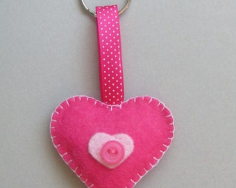 Pink Felt Heart Keyring Keychain