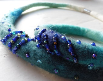 Hand felted Necklace and Bangle Set