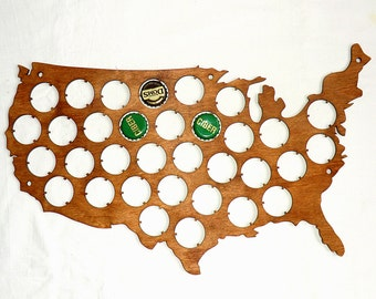 USA Beer Cap Map Custom Personalized Beer Cap Display Groomsmen gift ideas Father's day Gifts for men Gifts for Dad Valentines gifts for him