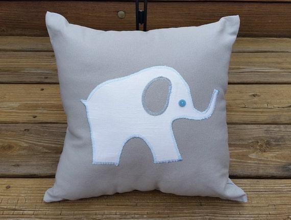 Decorative Pillows For Baby Room : Elephant Applique Decorative Pillow...Baby Nursery...Home