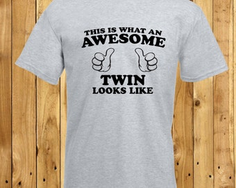 Awesome Twin T-Shirt, Twins Tshirts, Twin Birthday Present, Twin Birthday Shirt, Amazing Twins Gift, Worlds Best Twin, Twin Sets