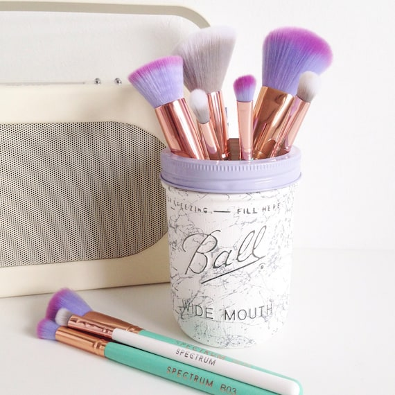 White and silver wide neck Ball mason jar with lilac lid - makeup brush holder, vase, desk tidy