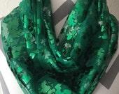 Sheer Green Shamrock Print Infinity Scarf