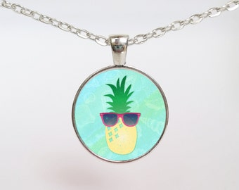 Cool Pineapple beachy tropical summer art pendant necklace