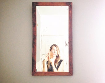 Vintage wooden mirror. Old cabinet lead back mirror. 1910 mirror. Antique wooden mirror. Hipster mirror.