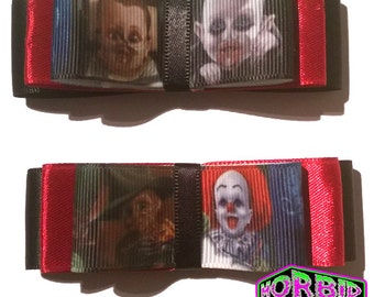 ON SALE Baby Horror Icons Gothic Hair Clips Pennywise Hannibal Lector Freddy Krueger Nosferatu