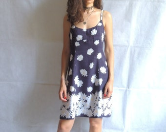 Vintage 90s Dress/ Sleevless Summer Dress/ Blu&White Daisy Dress/ Medium