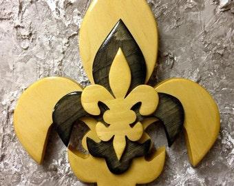 PCSTFDL6 Handcrafted Pine Tri Layered Wooden Fleur De Lis
