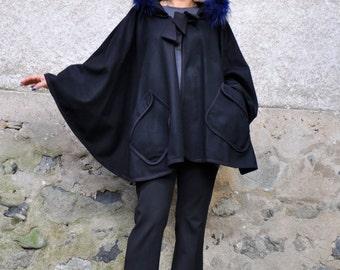 Woman black wool cape/Fur fox hooded black cape/Black coat/Handmade wool coat/Hooded black coat/Luxury loose coat/100% wool cape /C0221