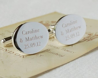Personalised Oval Cufflinks ~ Wedding, Anniversary, Birthday, Father's Day Gift