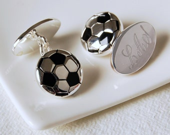 Football Cufflinks ~ Engraved Wedding, Anniversary, Birthday, Father's Day Gift