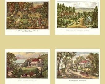 Four Farm Prints from the book Currier and Ives America