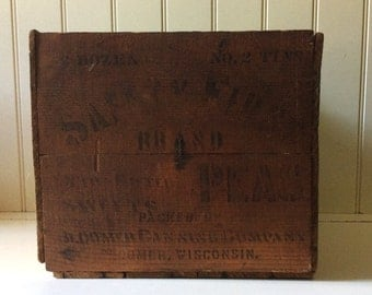 Antique Wooden Crate/Safety First Brand Peas/Rustic Wooden Crate/Wooden Crate/Vintage Wood Crate/Antique Packing Crate/Safety First Peas