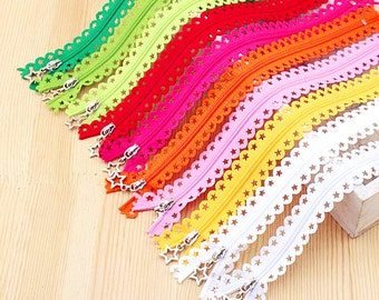 3pcs Colorful Metal Zippers Scallop Lace Short Zipper 8 inches Clothes Purse Bags zippers Z07