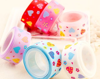 SALE 25mm Grossgrain Ribbon Colorful Heart Trim Grossgrain Tapes for Headband Bowtie Wedding,Clothes Sewing 1 Yard r108a