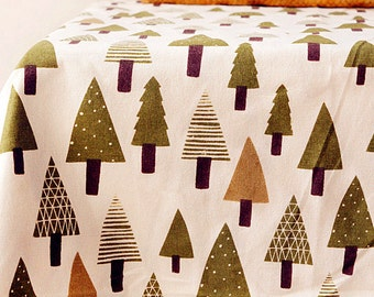 Tree Fabric Cotton Linen Fabric Green Christmas Tree for Cloth Curtain Quiltting Upholstery 1/2 yard f178